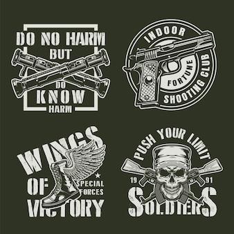 Conjunto de emblemas militares vintage