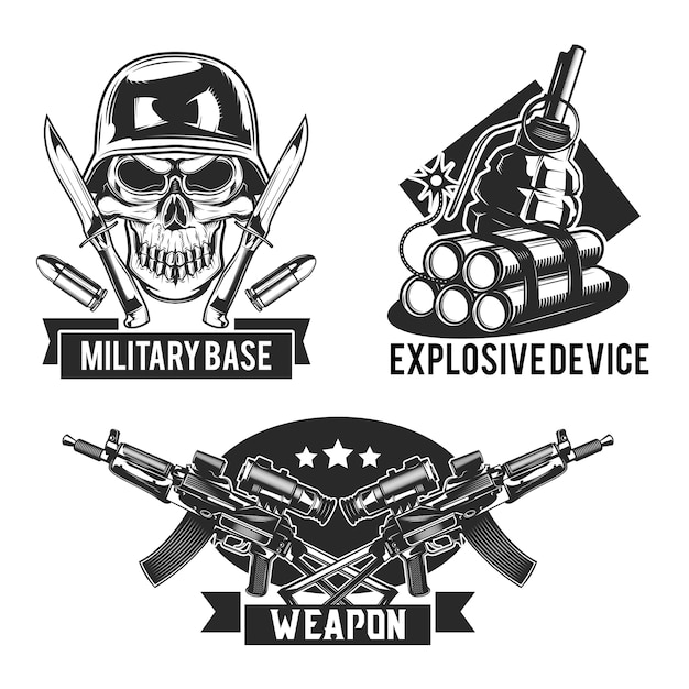 Conjunto de emblemas militares