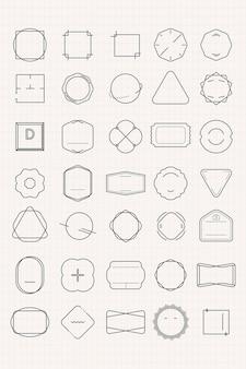 Conjunto de emblemas mínimos em branco