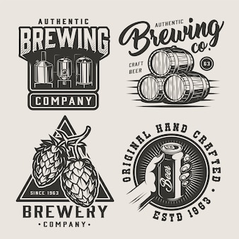 Conjunto de emblemas monocromático de cerveja vintage