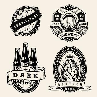 Conjunto de emblemas monocromáticos de fabricação de cerveja vintage