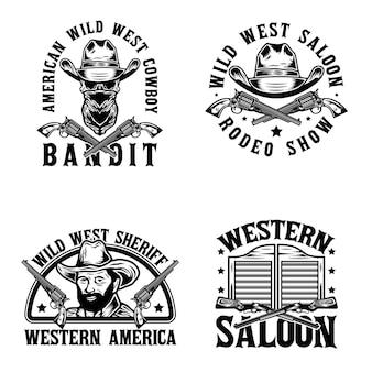 Conjunto de emblemas monocromáticos de faroeste vintage