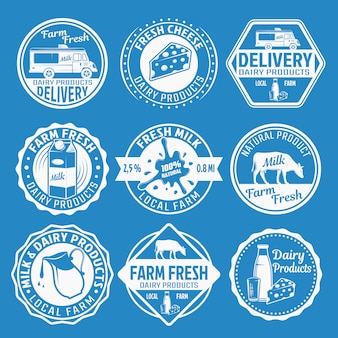 Conjunto de emblemas monocromáticos de leite