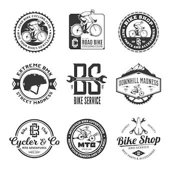 Conjunto de emblemas monocromáticos de tema de bicicleta