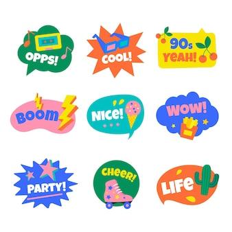 Conjunto de emblemas nostálgicos dos anos 90