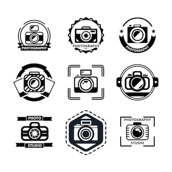 Conjunto de emblemas ou logotipos de fotografia vintage.
