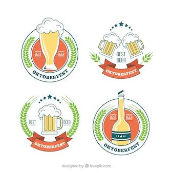Conjunto de emblemas para celebração de cerveja