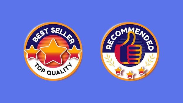 Conjunto de emblemas para o melhor vendedor ou produto recomendado