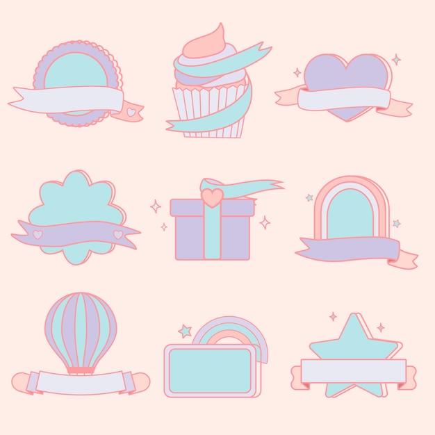 Conjunto de emblemas pastel fofo