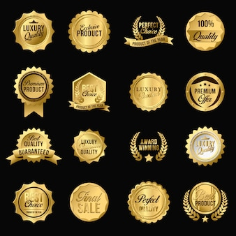 Conjunto de emblemas plana de luxo dourado