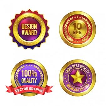 Conjunto de emblemas premium dourado.