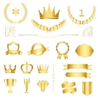 Conjunto de emblemas premium e banners vector