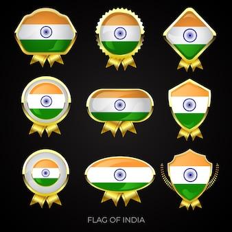 Conjunto de emblemas premium ouro da bandeira da índia