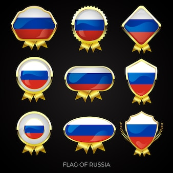 Conjunto de emblemas premium ouro da bandeira da rússia