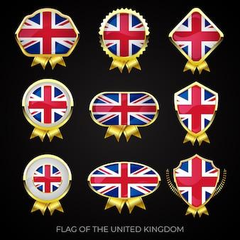Conjunto de emblemas premium ouro da bandeira do reino unido