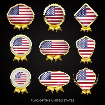 Conjunto de emblemas premium ouro da bandeira dos estados unidos