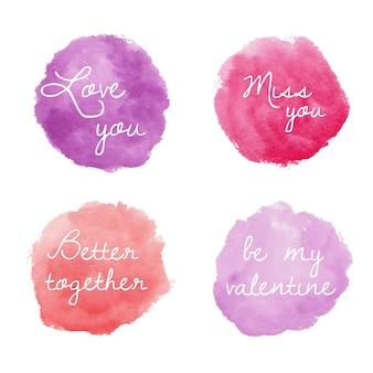 Conjunto de emblemas redondos em aquarela para o dia dos namorados em rosa e roxo