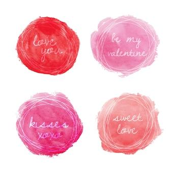 Conjunto de emblemas redondos em aquarela para o dia dos namorados em rosa e vermelho