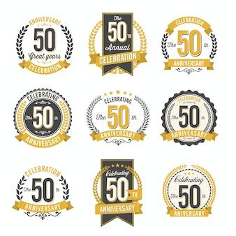 Conjunto de emblemas retrô de aniversário de comemoração do 50º ano