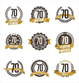Conjunto de emblemas retrô de aniversário