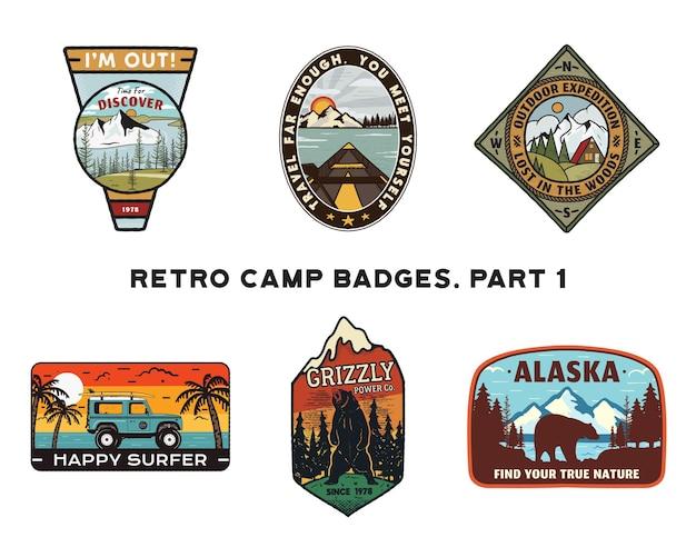 Conjunto de emblemas retrô wanderlust logos