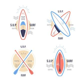 Conjunto de emblemas sup design plano