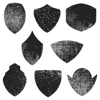 Conjunto de emblemas vazios com efeito grunge. elemento para o logotipo, etiqueta, emblema, sinal, cartaz. ilustração.