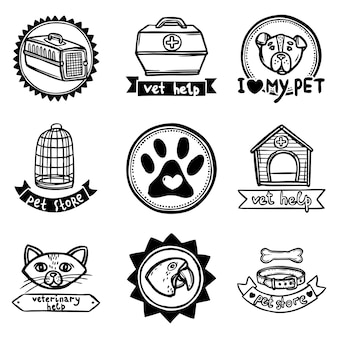 Conjunto de emblemas veterinários