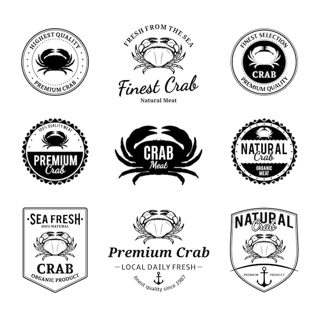 Conjunto de emblemas vetoriais de caranguejo e elementos de design Vetor Premium