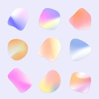 Conjunto de emblemas vibrantes holográficos e formas gradientes