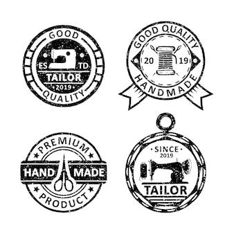 Conjunto de emblemas vintage alfaiate, emblemas e logotipo