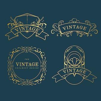 Conjunto de emblemas vintage art nouveau dourado no vetor azul