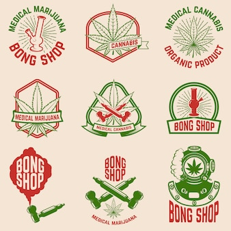 Conjunto de emblemas vintage com maconha medicinal.