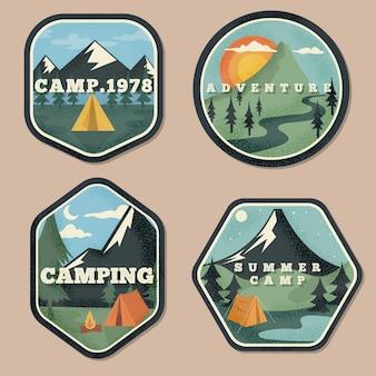 Conjunto de emblemas vintage de acampamento e aventuras