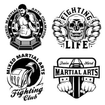 Conjunto de emblemas vintage de artes marciais mistas
