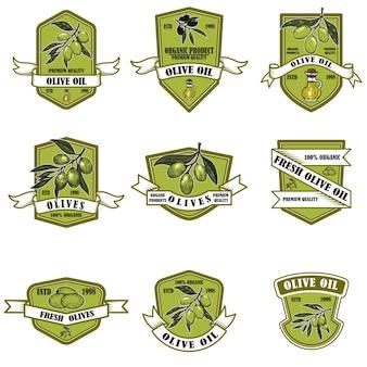 Conjunto de emblemas vintage de azeite.