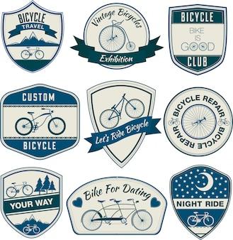 Conjunto de emblemas vintage de bicicleta