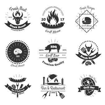 Conjunto de emblemas vintage de churrascaria