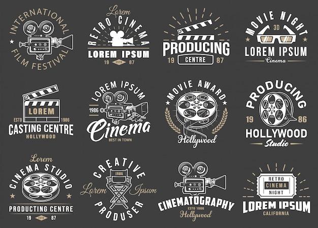 Conjunto de emblemas vintage de cinema.