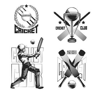 Conjunto de emblemas vintage de críquete isolado no branco