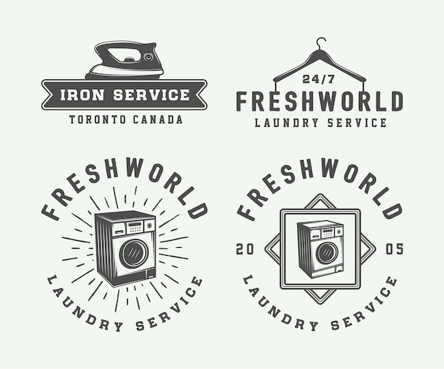 Conjunto de emblemas vintage de limpeza de roupa ou de logotipos de serviço de ferro