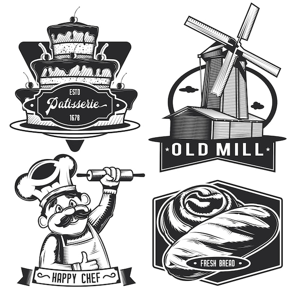 Conjunto de emblemas vintage de padaria