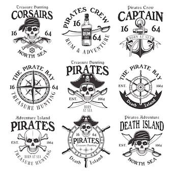 Conjunto de emblemas vintage de piratas