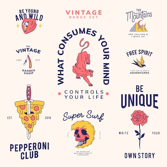Conjunto de emblemas vintage design vector