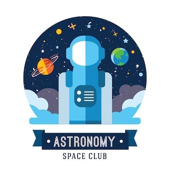 Conjunto de emblemas vintage espaço e astronauta, emblemas, logotipos e rótulos.