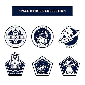 Conjunto de emblemas vintage espaço monocromático e astronauta