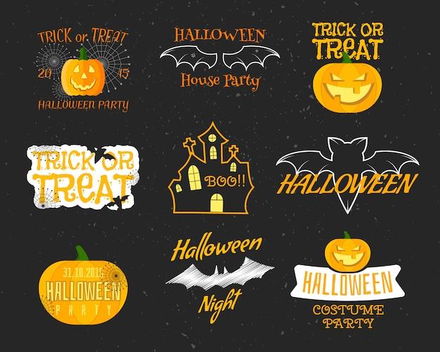 Conjunto de emblemas vintage feliz dia das bruxas, etiquetas, logotipos. morcego, elementos de abóbora.
