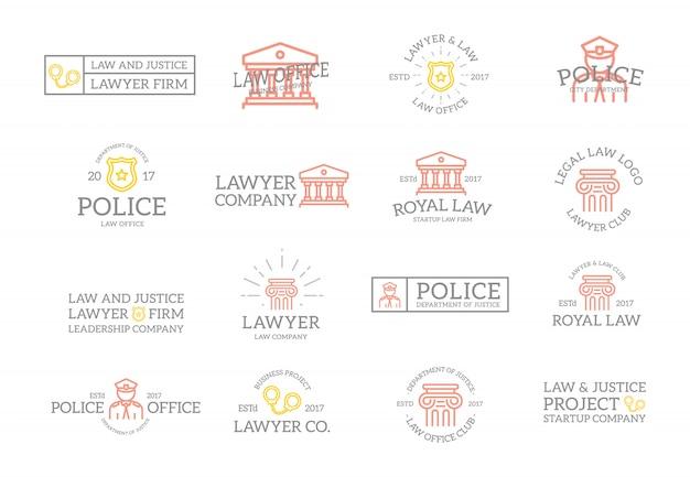 Conjunto de emblemas vintage justiça e etiquetas