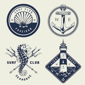 Conjunto de emblemas vintage mar monocromático