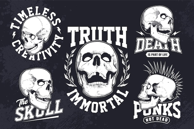 Conjunto de emblemas vintage monocromáticos com gravura de crânios de estilo em fundo escuro. modelos de design de impressão de t-shirt. gráfico de vetor eps10.